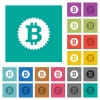Bitcoin sticker square flat multi colored icons - Bitcoin sticker multi colored flat icons on plain square backgrounds. Included white and darker icon variations for hover or active effects.
