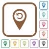 Undo GPS map location simple icons - Undo GPS map location simple icons in color rounded square frames on white background