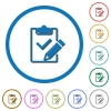 Fill out checklist icons with shadows and outlines - Fill out checklist flat color vector icons with shadows in round outlines on white background