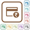 Rupee credit card simple icons - Rupee credit card simple icons in color rounded square frames on white background