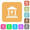 Indian Rupee bank office rounded square flat icons - Indian Rupee bank office flat icons on rounded square vivid color backgrounds.