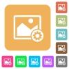 Image settings rounded square flat icons - Image settings flat icons on rounded square vivid color backgrounds.