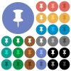 Push pin round flat multi colored icons - Push pin multi colored flat icons on round backgrounds. Included white, light and dark icon variations for hover and active status effects, and bonus shades on black backgounds.