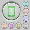 Mobile gyrosensor push buttons - Mobile gyrosensor color icons on sunk push buttons
