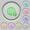 Online Rupee payment push buttons - Online Rupee payment color icons on sunk push buttons