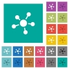 Network connections square flat multi colored icons - Network connections multi colored flat icons on plain square backgrounds. Included white and darker icon variations for hover or active effects.