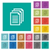 Multiple documents multi colored flat icons on plain square backgrounds. Included white and darker icon variations for hover or active effects. - Multiple documents square flat multi colored icons