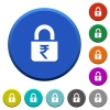 Locked rupees beveled buttons - Locked rupees round color beveled buttons with smooth surfaces and flat white icons