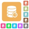 Database timed events rounded square flat icons - Database timed events flat icons on rounded square vivid color backgrounds.