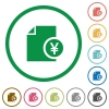 Yen financial report flat color icons in round outlines on white background - Yen financial report flat icons with outlines