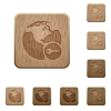 Secure internet surfing wooden buttons - Secure internet surfing on rounded square carved wooden button styles