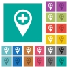 Add new GPS map location square flat multi colored icons - Add new GPS map location multi colored flat icons on plain square backgrounds. Included white and darker icon variations for hover or active effects.