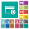 Credit card transaction templates square flat multi colored icons - Credit card transaction templates multi colored flat icons on plain square backgrounds. Included white and darker icon variations for hover or active effects.