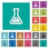 Flask with liquid square flat multi colored icons - Flask with liquid multi colored flat icons on plain square backgrounds. Included white and darker icon variations for hover or active effects.