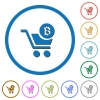 Checkout with Bitcoin cart icons with shadows and outlines - Checkout with Bitcoin cart flat color vector icons with shadows in round outlines on white background