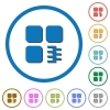 Zip component icons with shadows and outlines - Zip component flat color vector icons with shadows in round outlines on white background
