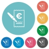 Signing Euro cheque flat round icons - Signing Euro cheque flat white icons on round color backgrounds
