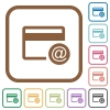 Credit card email notifications simple icons - Credit card email notifications simple icons in color rounded square frames on white background