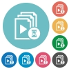 Preparing playlist flat round icons - Preparing playlist flat white icons on round color backgrounds