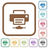 Network printer simple icons - Network printer simple icons in color rounded square frames on white background