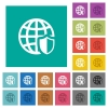 Internet security square flat multi colored icons - Internet security multi colored flat icons on plain square backgrounds. Included white and darker icon variations for hover or active effects.