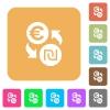Euro new Shekel money exchange rounded square flat icons - Euro new Shekel money exchange flat icons on rounded square vivid color backgrounds.