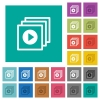 Play files square flat multi colored icons - Play files multi colored flat icons on plain square backgrounds. Included white and darker icon variations for hover or active effects.