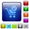 Checkout with Ruble cart color square buttons - Checkout with Ruble cart icons in rounded square color glossy button set