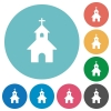 Curch flat round icons - Curch flat white icons on round color backgrounds