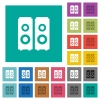 Speakers square flat multi colored icons - Speakers multi colored flat icons on plain square backgrounds. Included white and darker icon variations for hover or active effects.