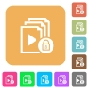 Lock playlist rounded square flat icons - Lock playlist flat icons on rounded square vivid color backgrounds.
