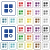 Component settings outlined flat color icons - Component settings color flat icons in rounded square frames. Thin and thick versions included.
