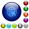 World travel color glass buttons - World travel icons on round color glass buttons