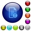 Delete document color glass buttons - Delete document icons on round color glass buttons