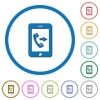 Outgoing mobile call icons with shadows and outlines - Outgoing mobile call flat color vector icons with shadows in round outlines on white background