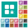 Component bug square flat multi colored icons - Component bug multi colored flat icons on plain square backgrounds. Included white and darker icon variations for hover or active effects.
