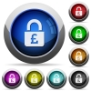 Locked Pounds round glossy buttons - Locked Pounds icons in round glossy buttons with steel frames