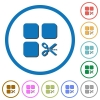 Cut component icons with shadows and outlines - Cut component flat color vector icons with shadows in round outlines on white background