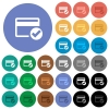 Credit card verified round flat multi colored icons - Credit card verified multi colored flat icons on round backgrounds. Included white, light and dark icon variations for hover and active status effects, and bonus shades on black backgounds.