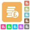 Pound coins rounded square flat icons - Pound coins flat icons on rounded square vivid color backgrounds.
