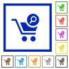 Search cart item flat framed icons - Search cart item flat color icons in square frames on white background