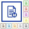 Save document flat color icons in square frames on white background - Save document flat framed icons
