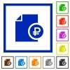 Ruble financial report flat framed icons - Ruble financial report flat color icons in square frames on white background