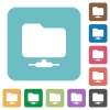 Network folder rounded square flat icons - Network folder white flat icons on color rounded square backgrounds