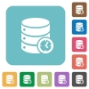 Database timed events rounded square flat icons - Database timed events white flat icons on color rounded square backgrounds
