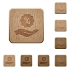 Discount services wooden buttons - Discount services on rounded square carved wooden button styles