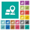 Location pin on map square flat multi colored icons - Location pin on map multi colored flat icons on plain square backgrounds. Included white and darker icon variations for hover or active effects.