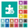 Pause plugin square flat multi colored icons - Pause plugin multi colored flat icons on plain square backgrounds. Included white and darker icon variations for hover or active effects.