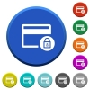 Lock credit card transactions beveled buttons - Lock credit card transactions round color beveled buttons with smooth surfaces and flat white icons