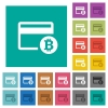 Bitcoin credit card square flat multi colored icons - Bitcoin credit card multi colored flat icons on plain square backgrounds. Included white and darker icon variations for hover or active effects.